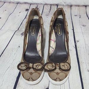 Coach Brown Logo Jacquard Wedges 5.5 Bow Shoes